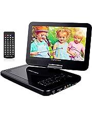 """DBPOWER 10.5"""" Tragbarer DVD Player, Auto DVD Player, Drehbarer Bildschirm mit 5 Stunden Akku Wiederaufladbarer, unterstützt SD-Karte und USB (Schwarz)"""
