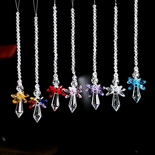 Qf Rainbow Guardian Angel Crystal Suncatcher For Home/Car Decoration & Porch Decor & Hangings Crystal Glass Ornament (Set 7) by Qf (Image #1)