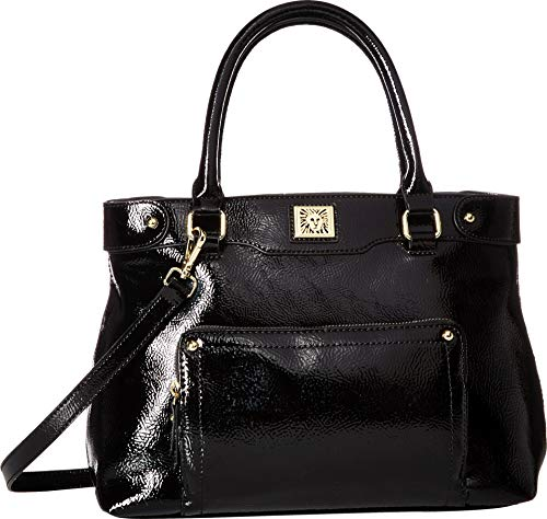 Anne Klein Women's Crinkle Front Pocket Satchel Black One Size -  AKM2263-002