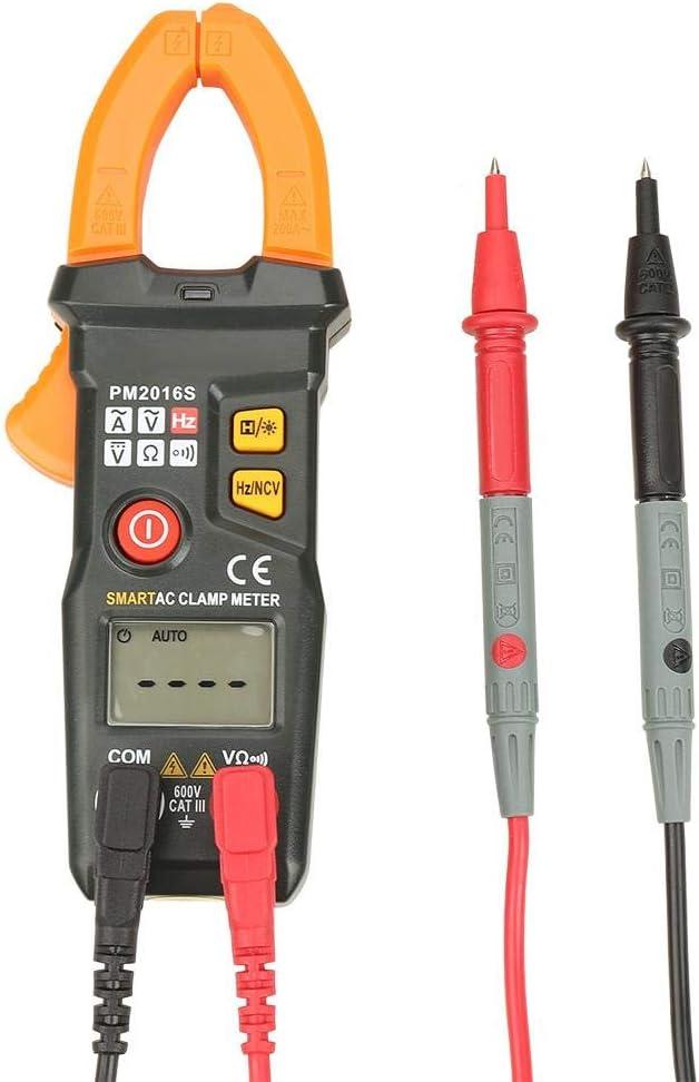 Tester Elettrico Display LCD AC//DC Volt Amp Ohm Hz Meter Multimetro a Morsetto Digitale PM2016A PEAKMETER PM2016A // S Multimetro a Pinza Digitale Portatile 6000 Conteggi