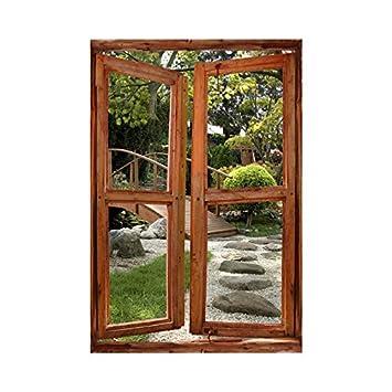 Stickers trompe l\'oeil fenêtre jardin japonnais - L 60cm x H 90cm ...