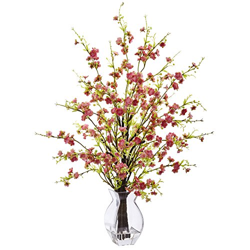 Nearly Natural 1459-PK Cherry Blossom in Glass Vase -