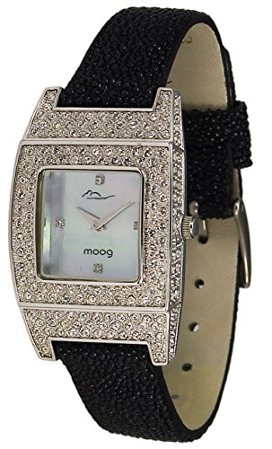 Moog Paris Smart Women's Watch with White Mother of Pearl Dial, Black Galuchat Strap & Swarovski Elements - M44072F-001