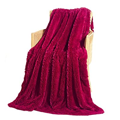 """Livingston Home Faux Long Fur Throw Blanket 50""""x60"""" 100% Acrylic Burgundy, 50"""" x 60"""", - Throw Blanket is gentle on your Skin and quickly absorb moisture whereas the soft gives you all the comfort you need with the fabric which is also hard-wearing for durability Dry wash only All edges are stitched for longevity and durability - blankets-throws, bedroom-sheets-comforters, bedroom - 51DK sd8ATL. SS400  -"""