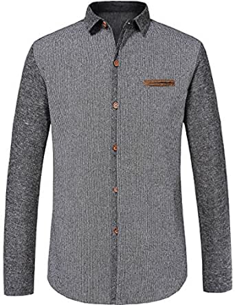 Sslr men 39 s heavy weight cotton linen button down casual for Heavy button down shirts