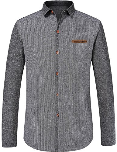 SSLR Men's Spring Turn Down Collar Cotton Long Sleeves Shirt (X-Large, Grey 2)