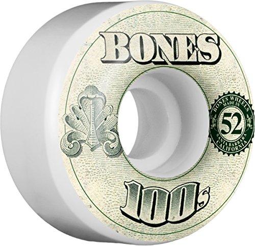 Bones Wheels 100'S #11 52x34 White Set of 4 Skateboard Wheel