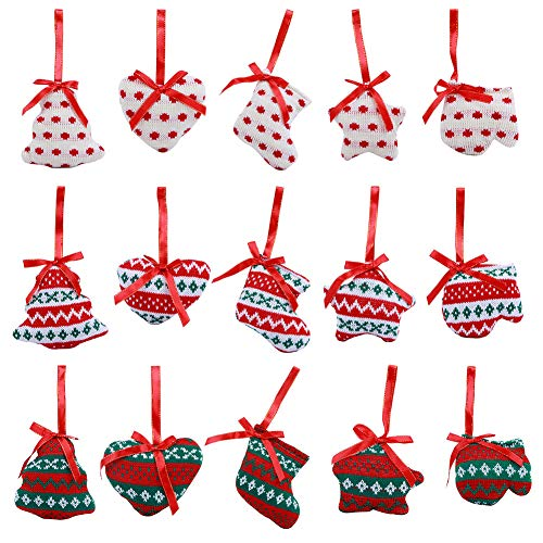 Christmas Tree Ornaments, 15 pcs Value Pack – Hanging Fabric Stocking Decorations, Gift Tags, Holiday Party Decor – Safe & Shatterproof