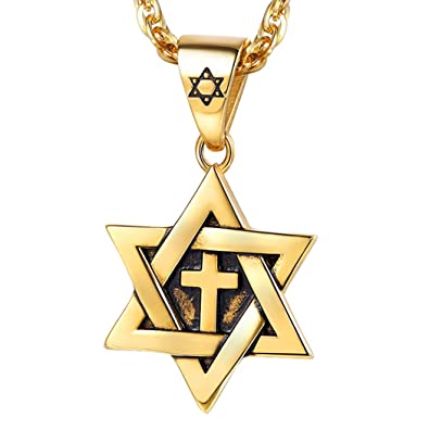 PROSTEEL Collar de Estrella de David con Cruz Estilo Vintage de Acero Inoxidable/Chapado en Oro