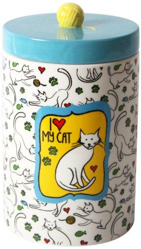 DEI Ceramic Mr. Snugs Cat Collection Treat Jar, Blue