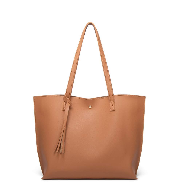 Women's Soft Faux Leather Tote Shoulder Bag from Dreubea Big Capacity Tassel Handbag