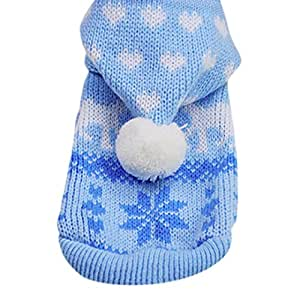 Mikey Store Knit Dog Hoodie Sweater Puppy Coat Clothes Small Warm Costume (Blue, XS)