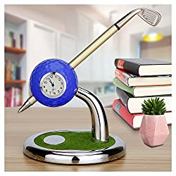 Mini Desktop Golf Ball Pen Stand with Golf Pens and Clock 2-piece Set of Golf Souvenir Tour Souvenir Novelty Gift(blue)