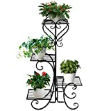 ONXO 4 Tier Iron Plant / Flower Stand Black Metal Standing Plant Display Rack for Garden / Patio