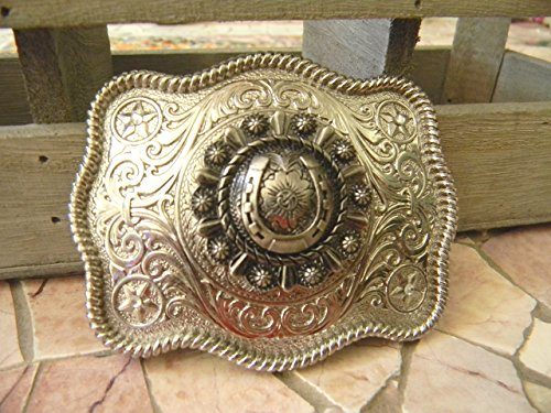 [Horseshoe Belt Buckle, Lucky Charms Horse Lover Western Gift] (Wrangler Concho Belt)