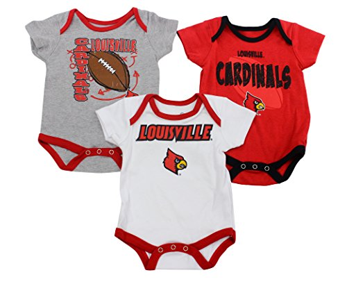 Outerstuff Louisville Cardinals Baby Clothing, University 3 Piece Creeper Apparel Set