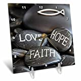 3dRose Andrea Haase Still Life Photography - Black Pebble Engraved, Love Faith Hope - 6x6 Desk Clock (dc_268541_1)