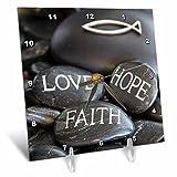 3dRose Andrea Haase Still Life Photography - Black Pebble Engraved, Love Faith Hope - 6x6 Desk Clock (dc_268541_1)