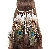 YnimioAOX Feather Headband Bohemian Tassel Hair Band Festival Peacock Wedding Hair Accessories Women Girl(W-Grey White)