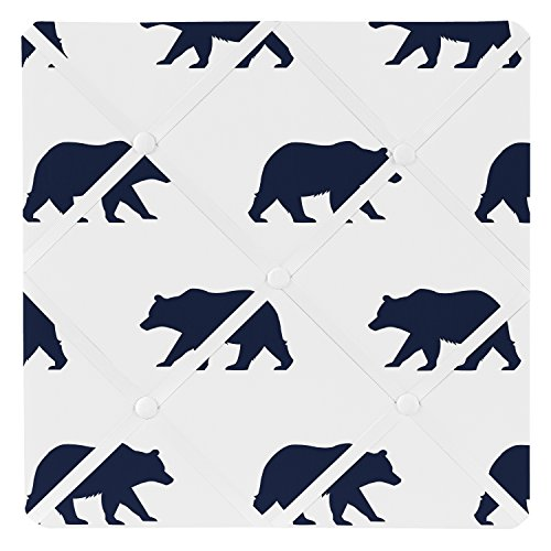 Sweet Jojo Designs Navy Blue and White Fabric Memory/Memo Photo Bulletin Board for Big Bear Collection by by Sweet Jojo Designs