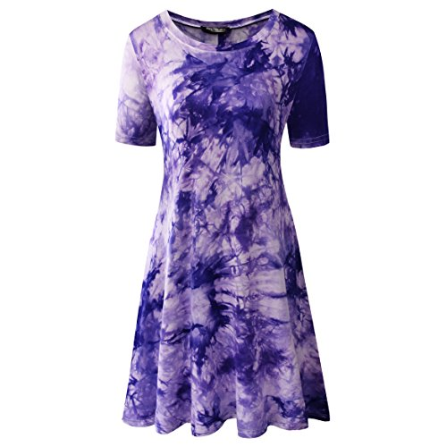 Zero City Women's Short Sleeve Casual Tie Dye Cotton Swing Tunic T-shirt Dresses Large ()