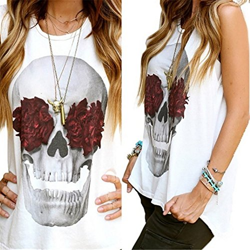 White Skull Rose (Women's Fashion Rose Skull Camisole Tank Top Summer Crewneck Sleeveless T-Shirt Size XL (White))