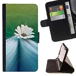 For Sony Xperia M4 Aqua Case , Margarita del libro de lectura del trullo Memoria Novela- la tarjeta de Crédito Slots PU Funda de cuero Monedero caso cubierta de piel