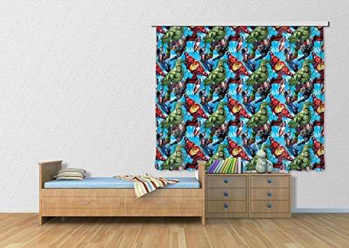 Marvel Comics Window Curtain - Iron Man, Hulk And Captain America (71 x 63 inches)