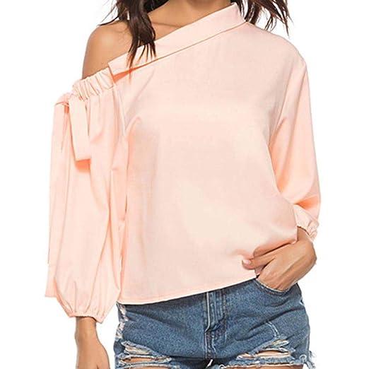 1f7cf4950df1c Amazon.com  Orangeskycn Women s Shirts and Blouses Bow Oblique Collar Long  Sleeve T-Shirt  Clothing