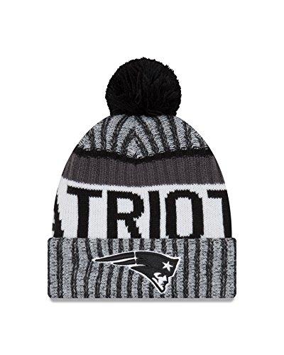 NFL New England Patriots Adult Men Cold Weather Black   White Sport Knit  Beanie 8df632f2b