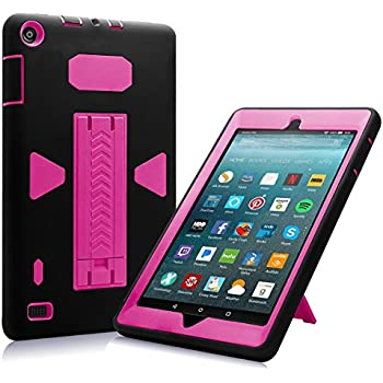 All-New Amazon Fire 7 2017 Case, Eontry Shockproof Heavy Duty Full Body Cover Rubber Plastic Protective Case with Build-in Kick Stand For All-New Fire 7 (7th Gen 2017 Release) (Black + Rose)