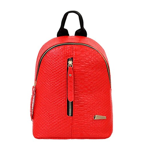 Outsta Travel Shoulder Bag,Women Leather Backpacks Schoolbags Lightweight Classic Basic Water Resistant Backpack School Bag (Red)