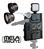 Melamount MM-IPAD PRO 9.7 Video Stabilizer Pro Multimedia Rig for Apple iPad PRO 9.7 And iPad AIR 2 + Lens Set 37mm TELEPHOTO & 37mm WIDE ANGLE + Video Rechargeable LED Light