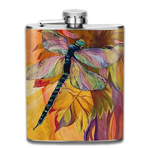 (FTRGRAFE Watercolor Vineyard Dragonfly Outdoor Portable 304 Stainless Steel Leak-Proof Alcohol Whiskey Liquor Wine 7OZ Pot Hip Flask Travel Camping Flagon For Man Woman Flask Great Little Gift)