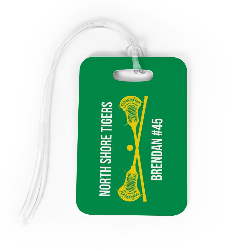 Guys Lacrosse Luggage /& Bag Tag BLACK//YELLOW SMALL Standard Lines on Back Personalized Text with Crossed Lax Sticks