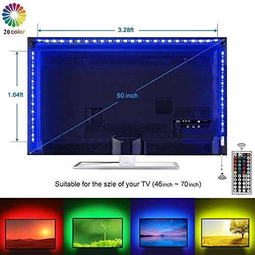 Led TV Backlight Kit, 5050 RGB Background Lighting with 44 key Remote Monitor Bias Lights USB Strip Light for 40''- 70'' HDTV by LEHOU