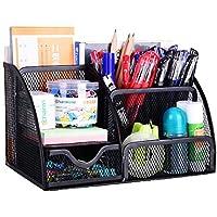 Vanra Rangement de fournitures scolaires/de bureau en mailles métalliques à 6compartiments avec tiroir noir