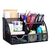 VANRA Office Supply Caddy Metal Mesh Desktop Supplies Organizer School Supply Holder Stuff Storage Organizer 6 Compartments with Drawer (Black)