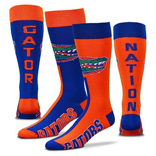 Florida Gators Big Top Mismatch Crew Socks Size Large 10-13 - for Bare Feet (Shoe Gators Florida)