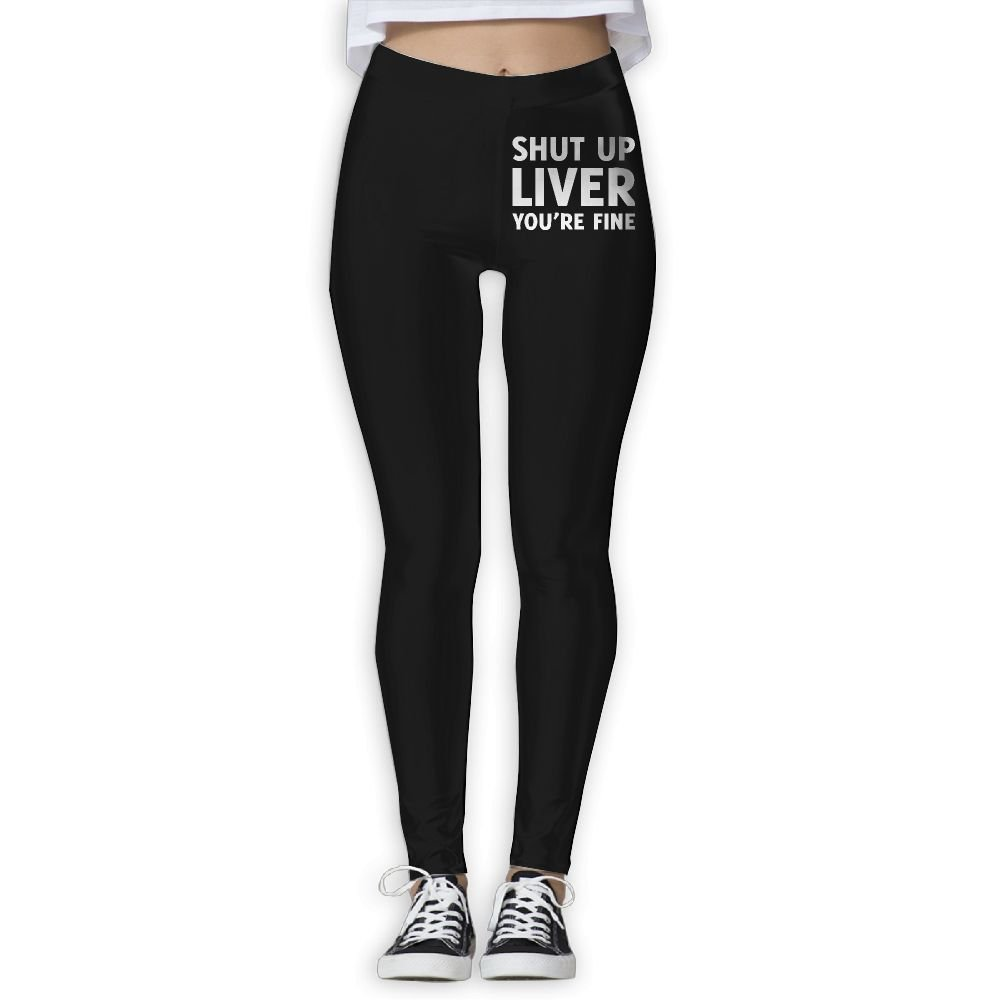 DDCYOGA Shut Up Liver You're Fine Womens Tummy Control Yoga Leggings Sport Workout Running Leggings For Girls
