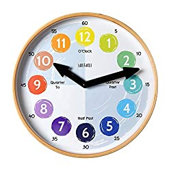 Telling Time Teaching Clock for Kids Learn to Tell the Time 12 Wooden frame, Analog. Silent nonticking.Kids Room, Playroom decor, Classroom Clock for children parents teachers. Learning Time Resource