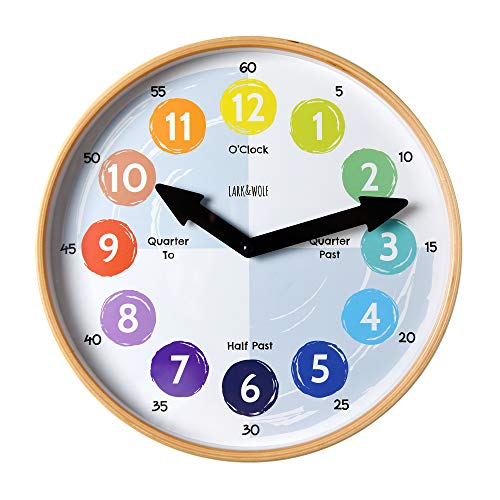 "Telling Time Teaching Clock for Kids Learn to Tell the Time 12"" Wooden frame, Analog Silent nonticking Kids Room, Playroom decor, Classroom Clock. Homeschool Learning Resource. Learning Time Resource"