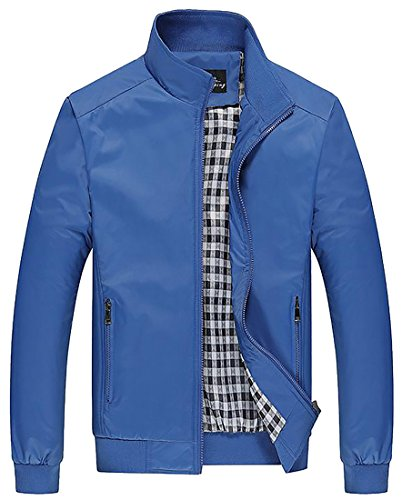Papijam Men's Solid Casual Windbreaker Jacket Stand Collar Outwear Sky Blue (Big Sky Riding Skirt)