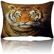 homehot Tiger Mini Pillowcase Oil Painting Style Big Cat Purposeful Eyes Carnivore Bengal Feline of East Fun Pillowcase 14