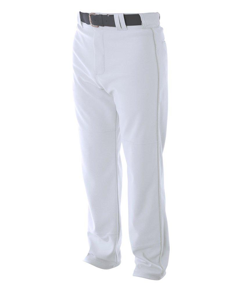 A4 野球用 バギーパンツ メンズ プロ仕様 パイピング入り B00B2BJ9EO L|ホワイト ホワイト L