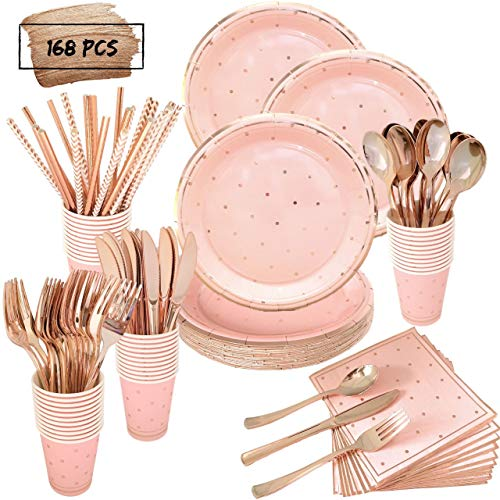 Pink and Rose Gold Party Supplies Set | Services 24 with Rose Gold Cutlery Includes Plastic Knives, Spoons, Forks, Rose Gold Paper Plates, Napkins, Cups, Straws | Birthday, Baby Shower, Bridal Shower