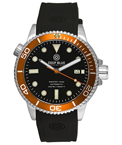 Deep Blue MASTER 1000 Automatic Diver watch Black strap Orange Bezel Blk (Diving Automatic Orange Dial)