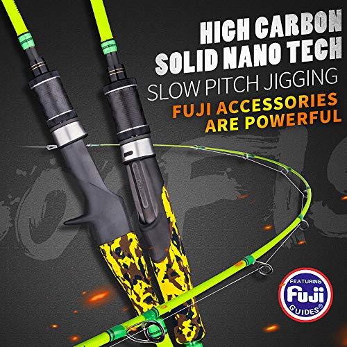 (GOOFISH Solid Nano Blank Slow Pitch Jigging Rod Light Shore Jigging Rod Slow Action Pitch Rod Pe 2-4 1.98m(6'6