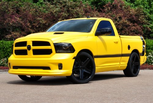 - Dodge Ram 1500 Rumble Bee Concept (2013) Truck Art Poster Print on 10 mil Archival Satin Paper Yellow Front Side Static View 16