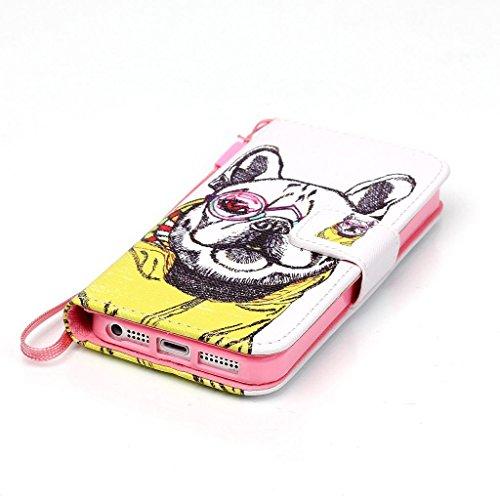 Pour iphone 5 5S Portefeuille Coque Etui, Ougger(TM) Cool Chien Imprimer [Dragonne] Durable PU Cuir Bourse Flip Rabat Fente Carte Stand Magnétique Fermeture Protecteur Housse Coque Etui